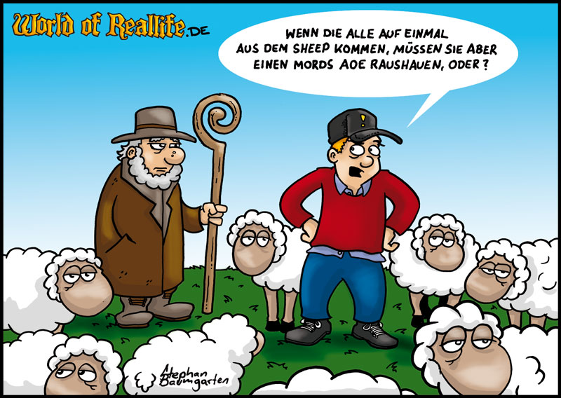 World of Reallife Cartoon 001 Sheep Stephan Baumgarten Rastafisch