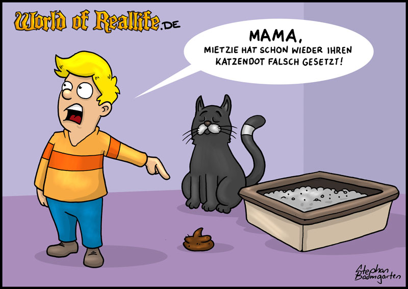 World of Reallife Cartoon 037 Katzendot Stephan Baumgarten Rastafisch