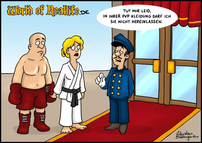 World of Reallife Cartoon 039 hereinlassen Stephan Baumgarten Rastafisch