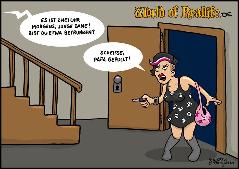 World of Reallife Cartoon 044 papapull Stephan Baumgarten Rastafisch
