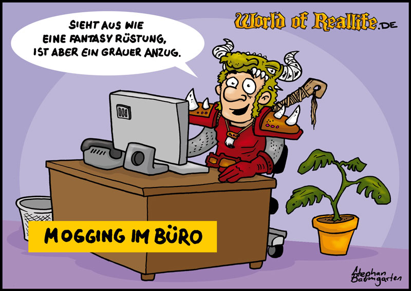 World of Reallife Cartoon 045 Jogging im Buero Stephan Baumgarten Rastafisch