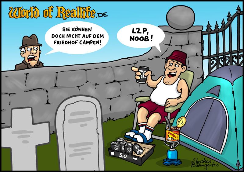 World of Reallife Cartoon 048 Friedhof Stephan Baumgarten Rastafisch