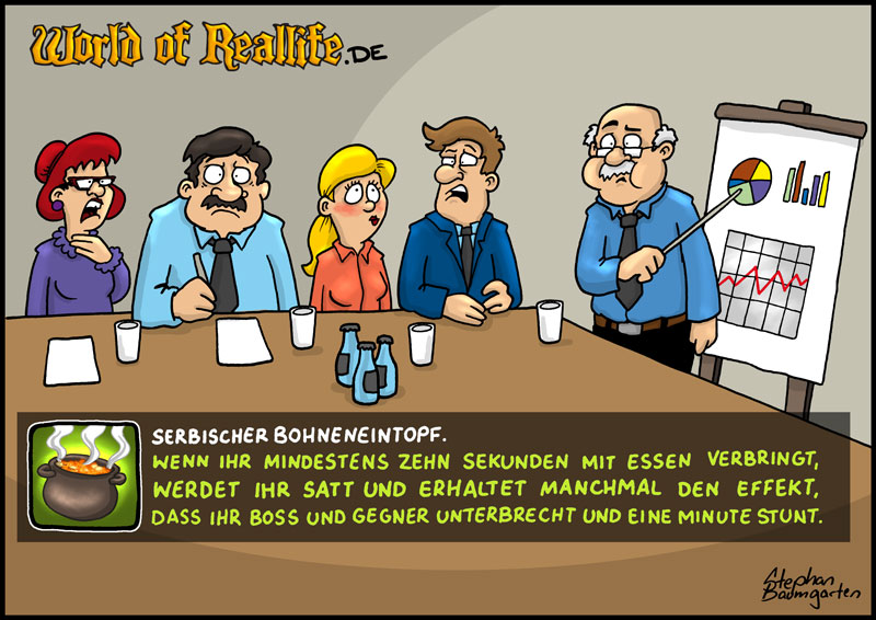 World of Reallife Cartoon 63 Bohneneintopf Stephan Baumgarten Rastafisch