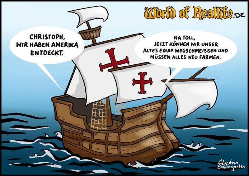 World of Reallife Cartoon 64 Kolumbus Stephan Baumgarten Rastafisch